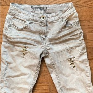 Gray Girls Embellished and Distressed Skinny Jeans